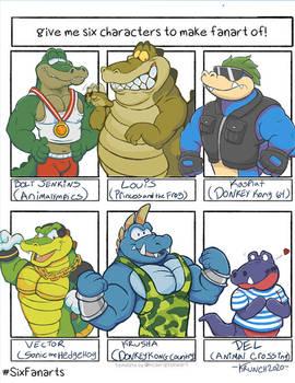Six character fanart challenge Crocs and gators
