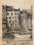 Honfleur port old paper