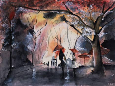 For sale original - Autumn rain - Paris