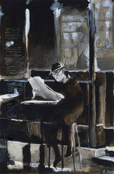For sale original - The old man with newspaper