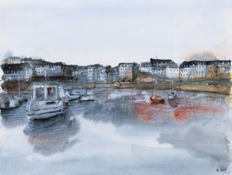 (SOLD) original - Rosmeur port - Watercolor by nicolasjolly