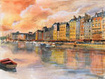 (SOLD) Sunset over Honfleur - Watercolor