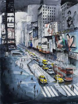 For sale original - Time Square - Watercolor