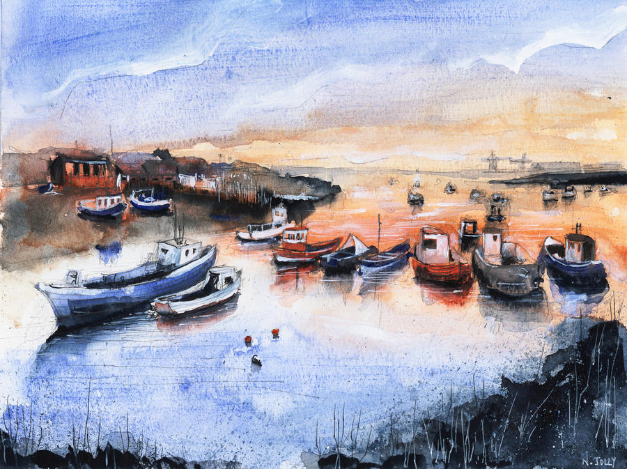fishing village watercolor original for sale by