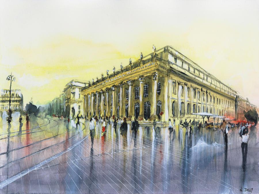 SOLD - Le Grand theatre - Watercolor by nicolasjolly
