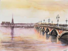 Original for sale - Le Pont de pierre - Watercolor