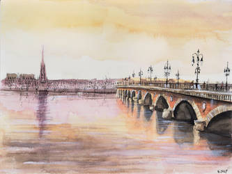 Original for sale - Le Pont de pierre - Watercolor by nicolasjolly