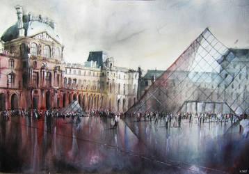 Le Louvre - Paris - Watercolor by nicolasjolly