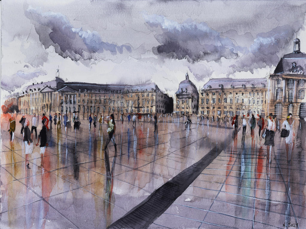 place de la bourse watercolor by nicolasjolly on deviantart. Black Bedroom Furniture Sets. Home Design Ideas
