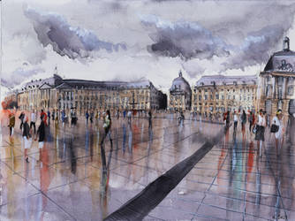 Place de la Bourse - Watercolor by nicolasjolly