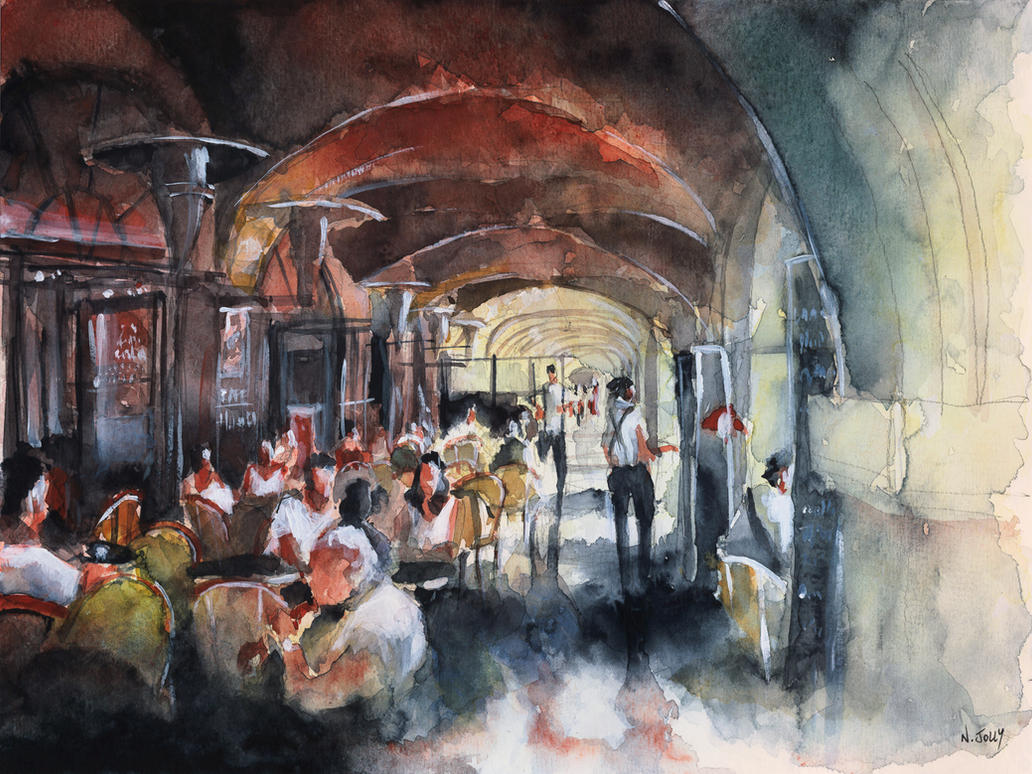 WATERCOLOR - Place des Vosges - Paris by nicolasjolly