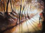 Break in the clouds - Watercolor