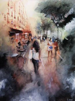 Promenade rue Saint-Martin - Paris - Watercolor
