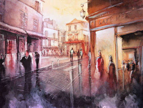 SOLD - Sunset over Montmartre - Watercolor