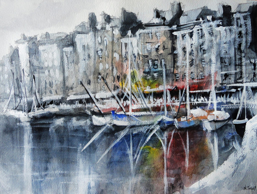 Les bateaux - Painting by nicolasjolly