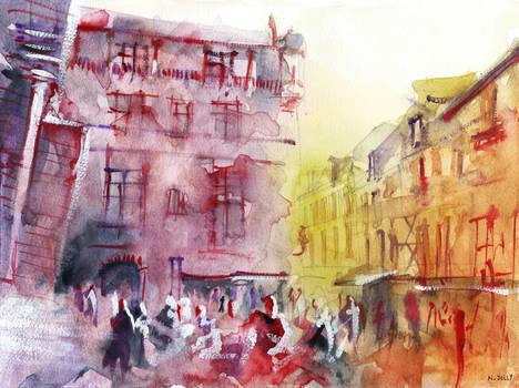 Sarlat - Watercolor - For sale original