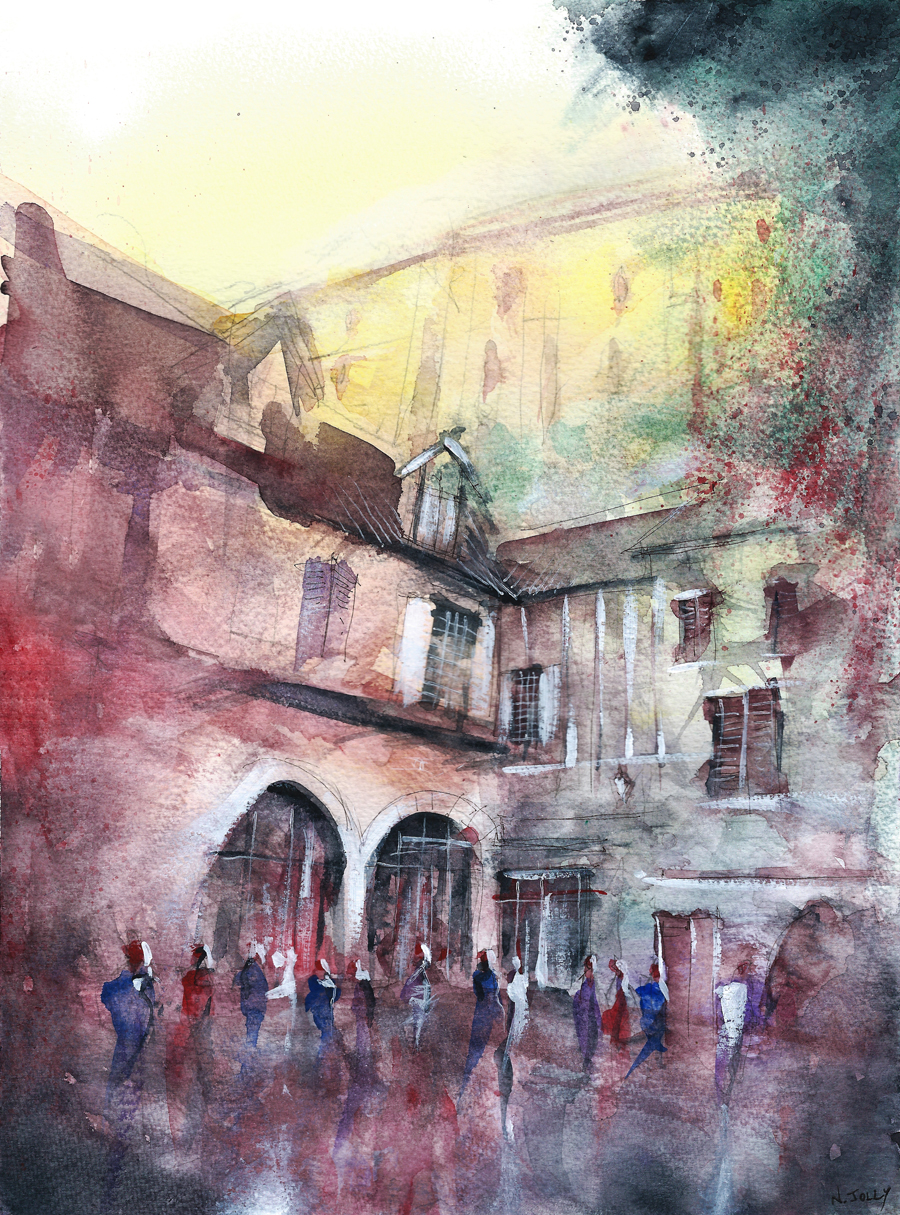 Les maisons sur la falaise - watercolor - for sale by nicolasjolly