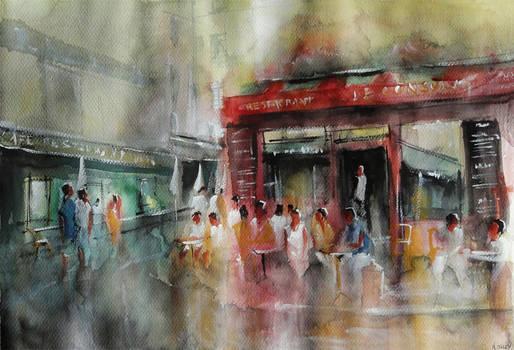 Repos en terrasse - Watercolor Painting