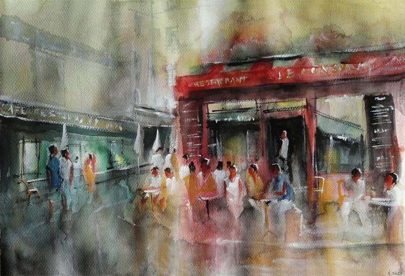 Repos en terrasse - Watercolor Painting by nicolasjolly