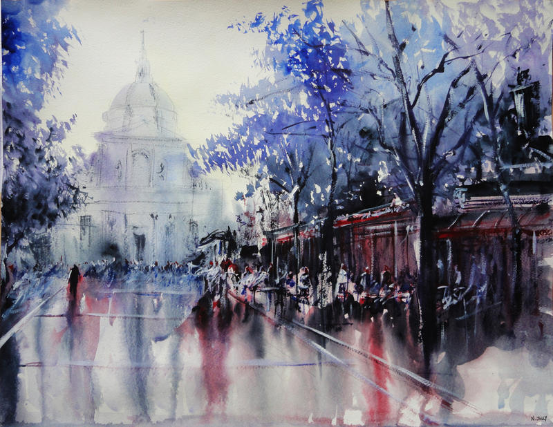 La Sorbonne - Paris - Watercolor Painting by nicolasjolly