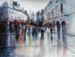 Sarlat apres la pluie - Watercolor painting