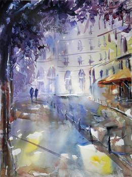 Promenade a l'ombre - Watercolor