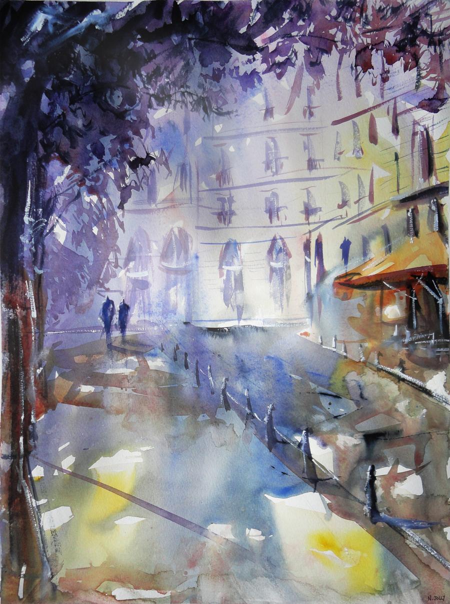 Promenade a l'ombre - Watercolor by nicolasjolly