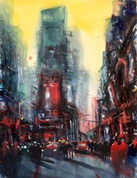 New York 08 - Time Square- Watercolor painting