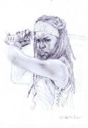 Michonne from Walking Dead by Fusciart