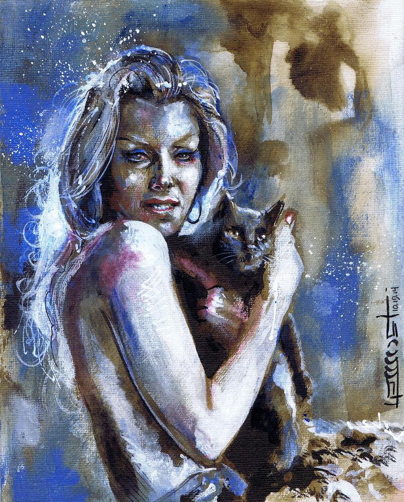 Ingrid Pitt Mini Canvas by Fusciart