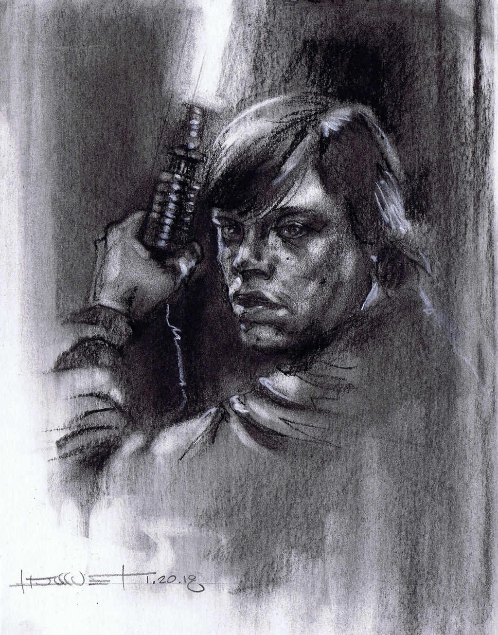 Luke Skywalker Charcoal Study by Fusciart