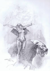 Sun Goddess Master Study Pencil by Fusciart