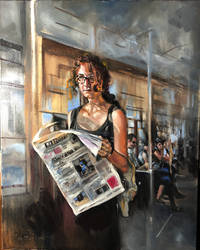 Girl on Train Oil Painting by Fusciart