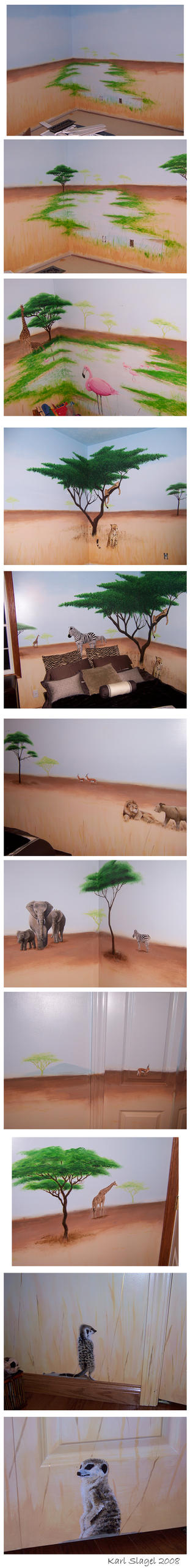 African savanna mural by comic-burn
