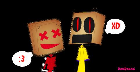 bag-chan and shufflebot by DaniDrama