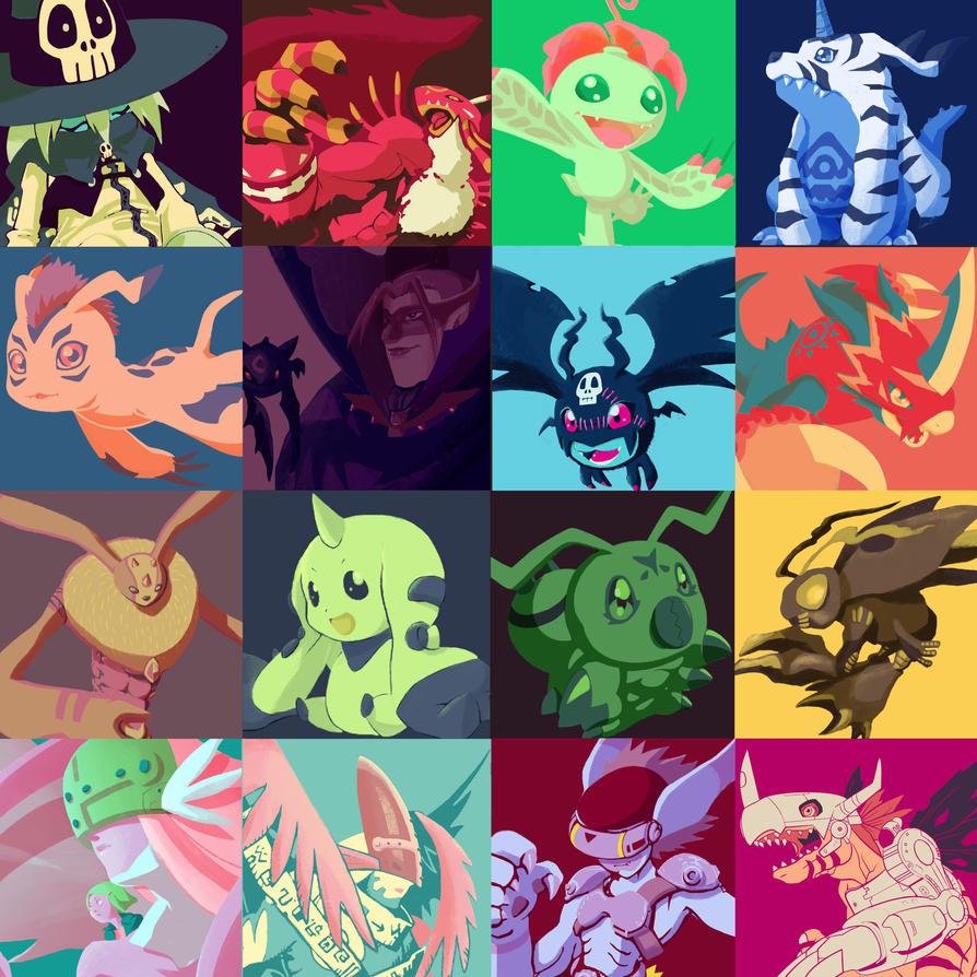 Digimon color palette challenge by LaFumiko