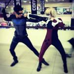 Nightwing vs Harley Quinn by juliuske