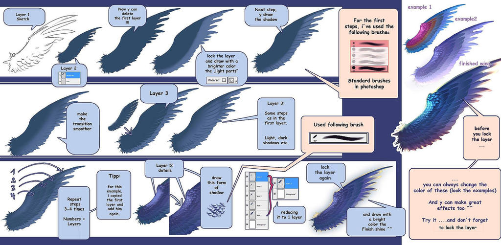 How to draw wings - short tutorial