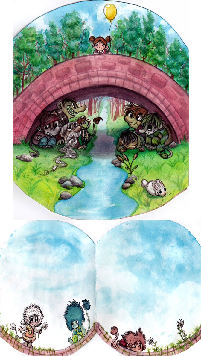Watercolors Norwegian Troll Card by ArtistsBlood