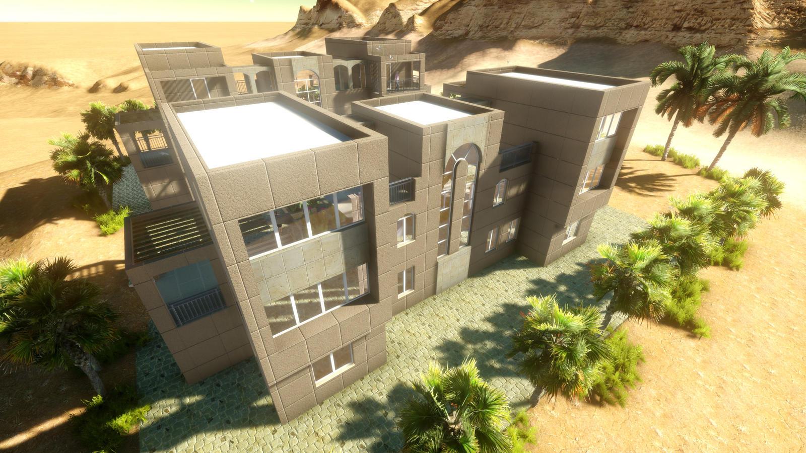 Motel design 3 by abdelmajeed on deviantart for Motel exterior design