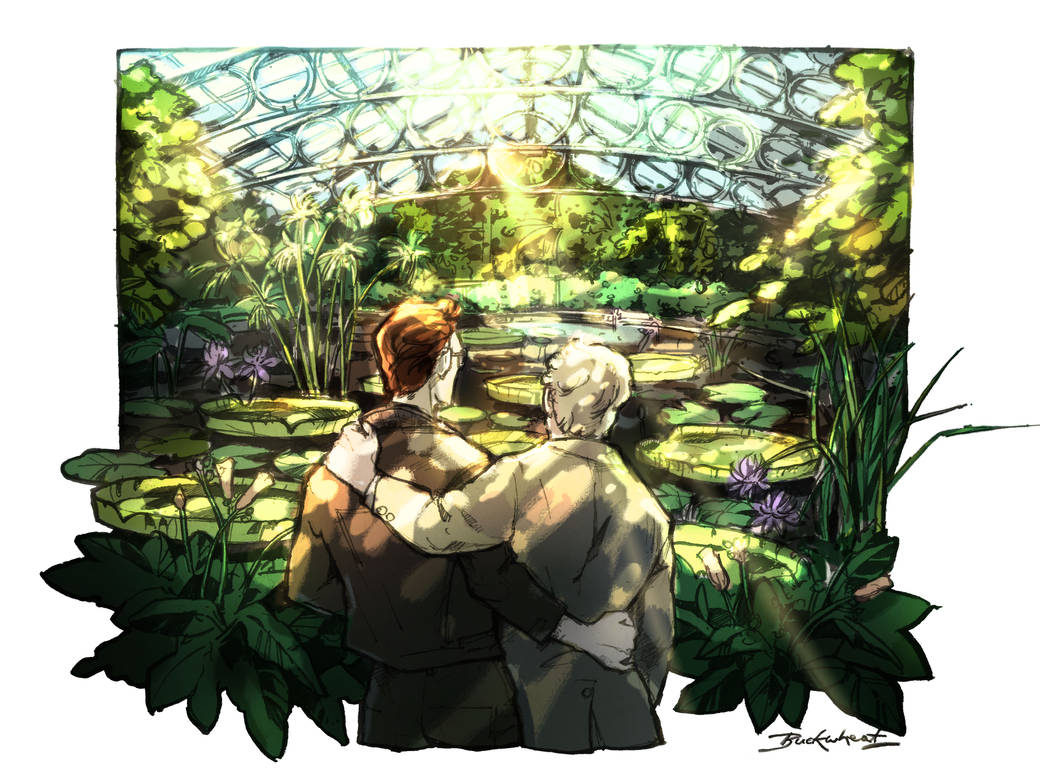 Aziraphale and Crowley in Kew Gardens by ToastedBuckwheat