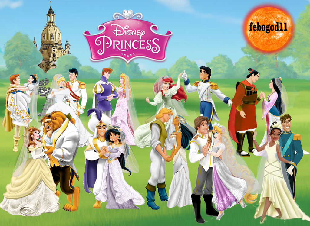 disney princes and princesses wedding by febogod11 on