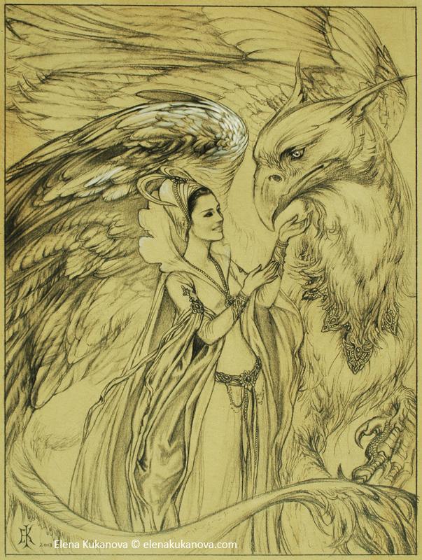 Queen and her Grifon by EKukanova