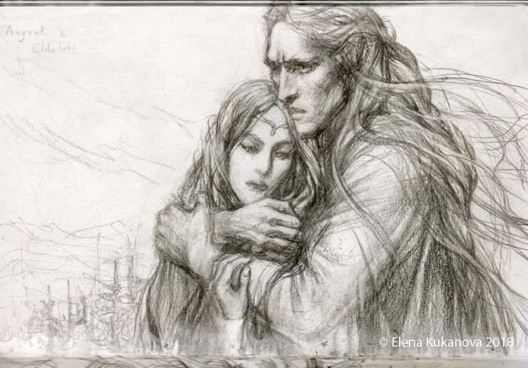 Angrod and Eldalote- sketch by EKukanova