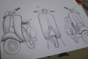 Trying to draw vespa. retro ngat.. by SyahirahKhuzaizi