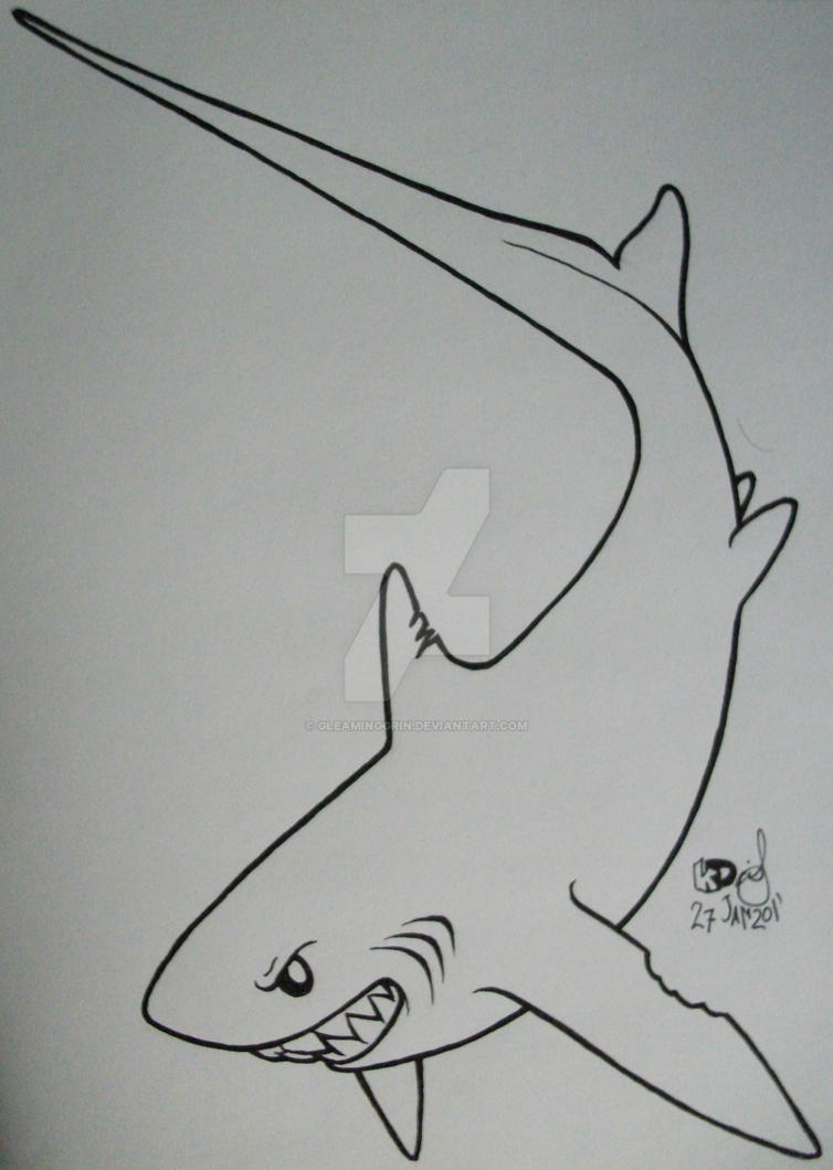 Thresher shark tattoo 3 by gleaminggrin on deviantart for Thresher shark coloring page