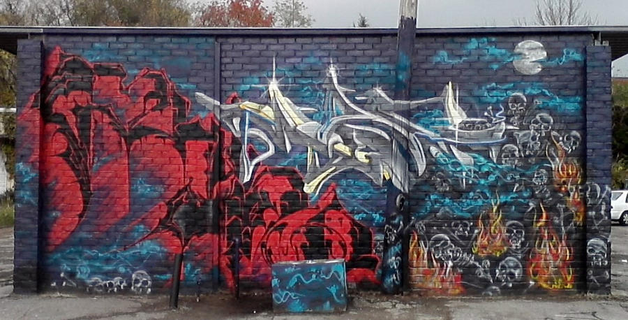 Mag and Rhino Halloween jam wall by Mag-4