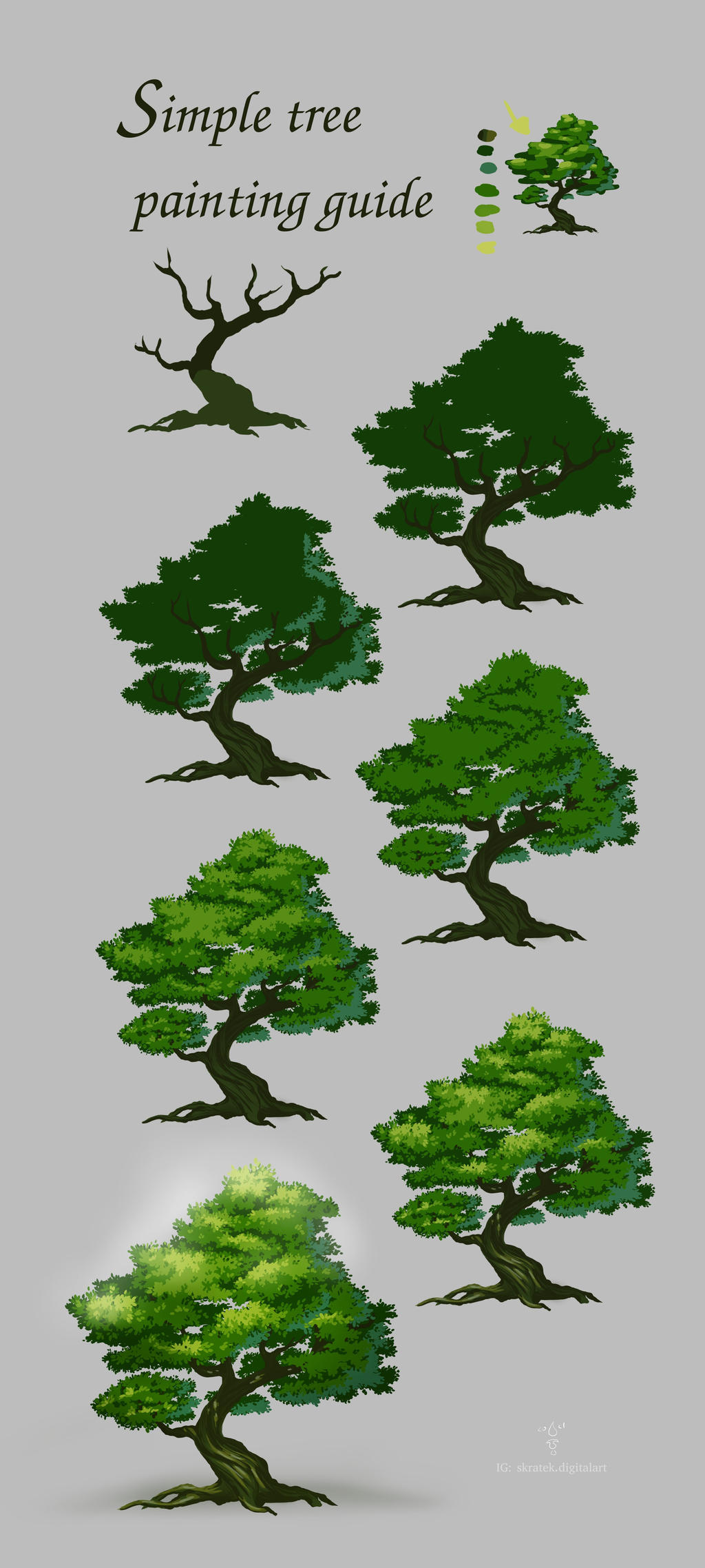 A tree/foliage painting guide