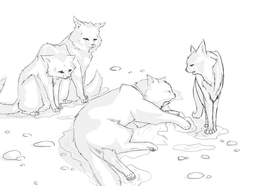 warrior cats coloring pages bluestar energy | Bluestars death line art | Warrior Cats Animation | Pinterest