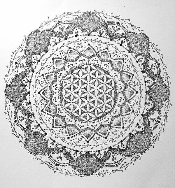 Flower Of Life Mandala Tattoo By Dannihaydon On Deviantart